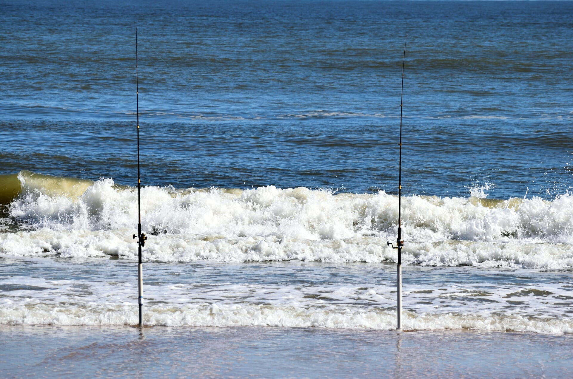 fishing poles in the surf