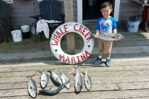 little kid on dock at Whale Creek Marina holding a big fish and smiling