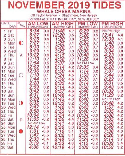 Tide table for November 2019 Strathmere Bay New Jersey, near Whale Creek Marina